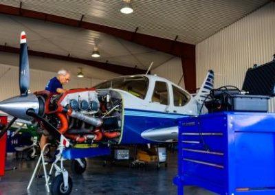 Sarasota Avionics in garage performing maintenance