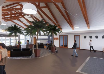 A detailed computer rendering of the PGD General Aviation center