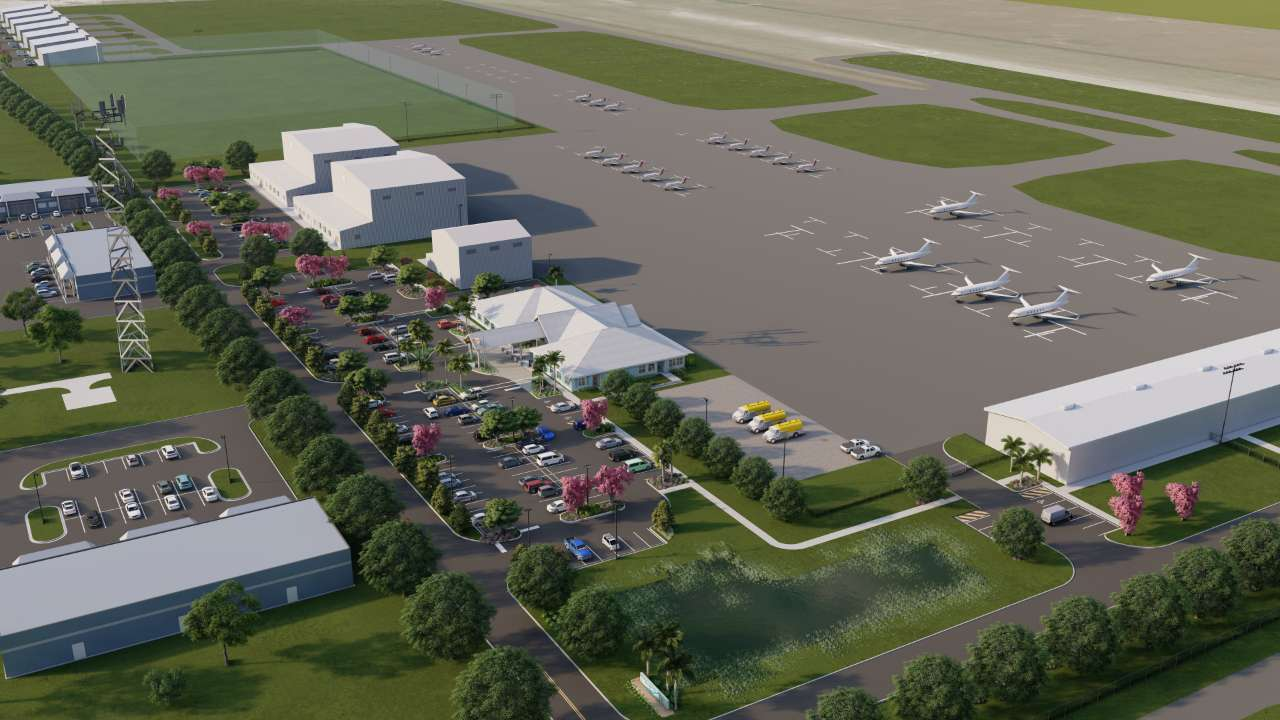 An isometric overview of the PGD General Aviation complex